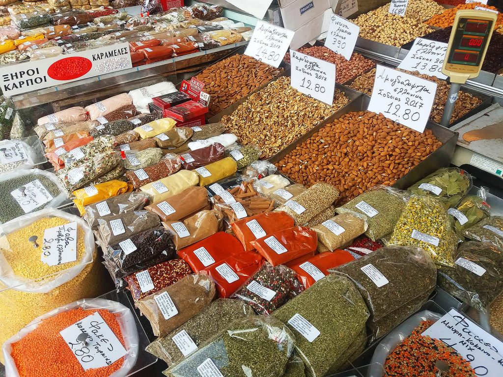 Best Food Around athens food tour spices Greek market